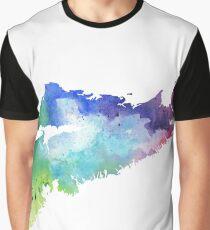 Watercolor Map of Nova Scotia, Canada in Rainbow Colors Graphic T-Shirt