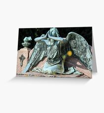 weeping angel at the Monumental Cemetery of Staglieno (Cimitero monumentale di Staglieno), Genoa, Italy Greeting Card