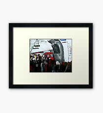 London Underground Urban Cityscape Red Train Subway Station Contemporary Acrylic Painting Framed Print