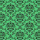 Elegant Black Damask Pattern Emerald Green Feminine by Beverly Claire Kaiya