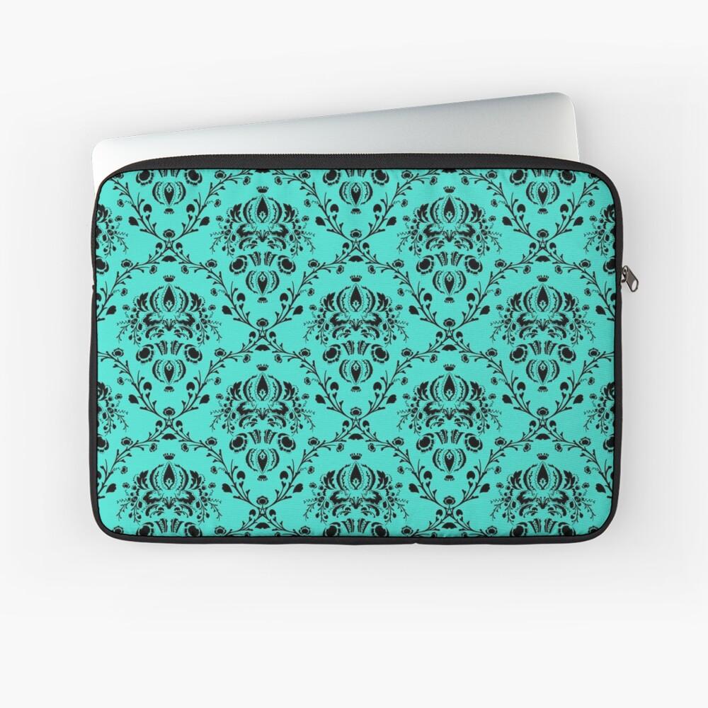 Elegant Black Damask Pattern Turquoise Feminine Laptop Sleeve Front