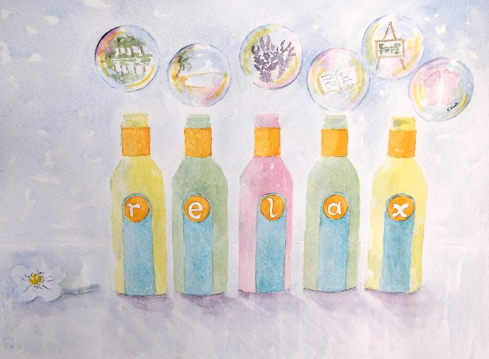 Relax bottles and bubbles by Pat  Elliott