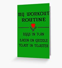 Breakfast Workout Routine Girls Muscle Top Greeting Card