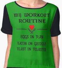 Breakfast Workout Routine Girls Muscle Top Chiffon Top