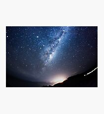 The Milky Way centre above a sleepy seaside town Photographic Print