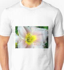 Macro on white summer flower. T-Shirt