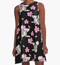 Chinese Crested Flowers A-Line Dress