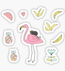 Flamingo and Black Cat Sticker