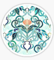 Ocean Aqua Art Nouveau Pattern with Peach Flowers Sticker