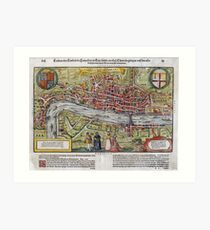 Vintage Map of London England (1598) Art Print