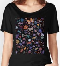 Butterflies, beetles and blooms - black - pretty floral pattern by Cecca Designs Women's Relaxed Fit T-Shirt