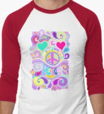 Psychedelic Hippy Retro Peace Art Men's Baseball ¾ T-Shirt
