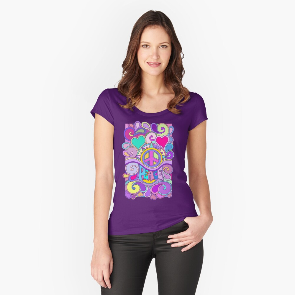 Psychedelic Hippy Retro Peace Art Fitted Scoop T-Shirt