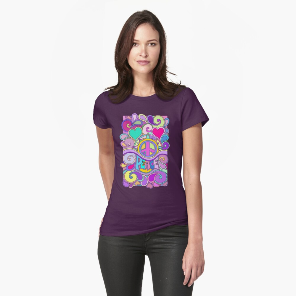 Psychedelic Hippy Retro Peace Art Fitted T-Shirt