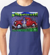 J C 1931 Fishing Old Red Coup Car Grapes Vines Lavender Fields Trees Trout Rainbow Woman Boots Cowboy Fishing Fish Hat Trees Clouds Summer Day Unisex T-Shirt