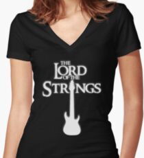 Lord of the Strings (white) Women's Fitted V-Neck T-Shirt