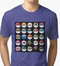 Pokemon Pokeball Black Tri-blend T-Shirt