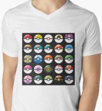 Pokemon Pokeball Black Men's V-Neck T-Shirt