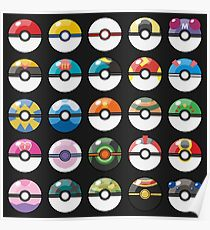 Pokemon Pokeball Black Poster