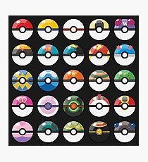 Pokemon Pokeball Black Photographic Print
