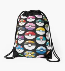 Pokemon Pokeball Black Drawstring Bag