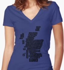 Distillery Map of Scotland Black Women's Fitted V-Neck T-Shirt