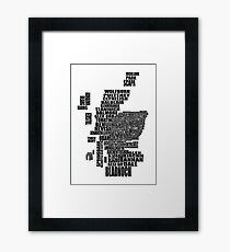 Distillery Map of Scotland Black Framed Print