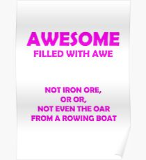Awsome - full of awe (Pink) Poster