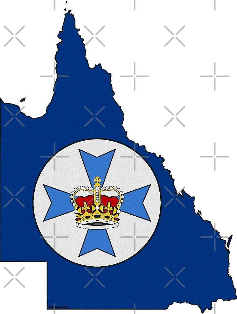 Queensland Australia Map With Flag by Havocgirl