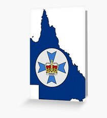 Queensland Australia Map With Flag Greeting Card