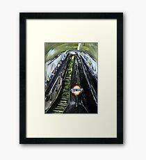 London Underground Urban Cityscape Jubilee Line Subway Station Escalators Contemporary Acrylic Painting Framed Print