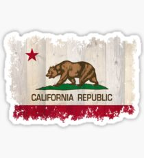 California Republic state flag - distressed edges on spruce planks Sticker