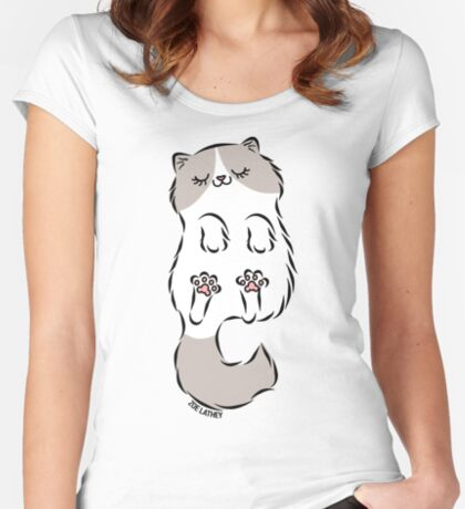 Fluffy Cat Sleeping Women's Fitted Scoop T-Shirt