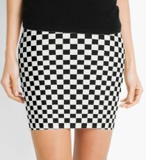 Lace Cap White and Black Classic Checkerboard Repeating Pattern Mini Skirt