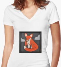 Moody Little Red Fox Women's Fitted V-Neck T-Shirt