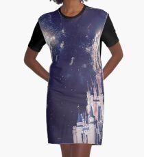 Magic Kingdom Castle With Fireworks Graphic T-Shirt Dress