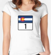 Colorado State Highway 1 Women's Fitted Scoop T-Shirt