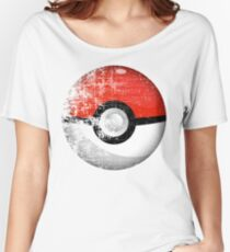 Destroyed Pokemon Go Team Red Pokeball Women's Relaxed Fit T-Shirt