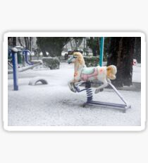 Playground in a Park During Heavy Snowfall In Winter In Bucharest, Romania Sticker