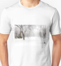 Park During Heavy Snowfall In Winter In Bucharest, Romania Unisex T-Shirt