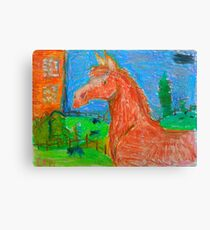 Chesnut horse in pastels Canvas Print
