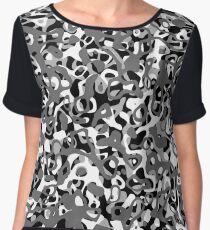 Multi Layer Abstract Pattern Grey Women's Chiffon Top