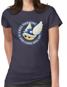 Menacing Blue Shell Womens Fitted T-Shirt