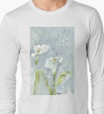 Arum lilies (and fireflies) at night Long Sleeve T-Shirt