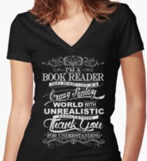I'M A BOOK READER  Women's Fitted V-Neck T-Shirt