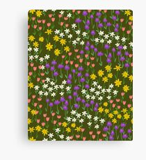 Green Field of Flowers Canvas Print