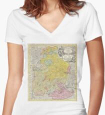 Vintage Map of Bavaria Germany (1728) Women's Fitted V-Neck T-Shirt