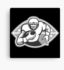 American Football Player Running Back Grayscale Canvas Print