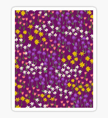 Violet Field of Flowers Sticker
