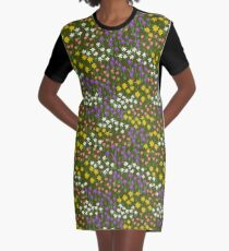 Green Field of Flowers Graphic T-Shirt Dress
